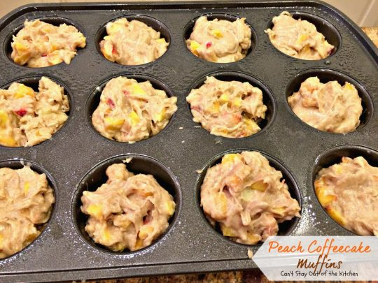 Peach Coffeecake Muffins | Can't Stay Out of the Kitchen | fabulous #breakfast #muffins are filled with #peaches and have a nutty streusel topping that's fantastic!