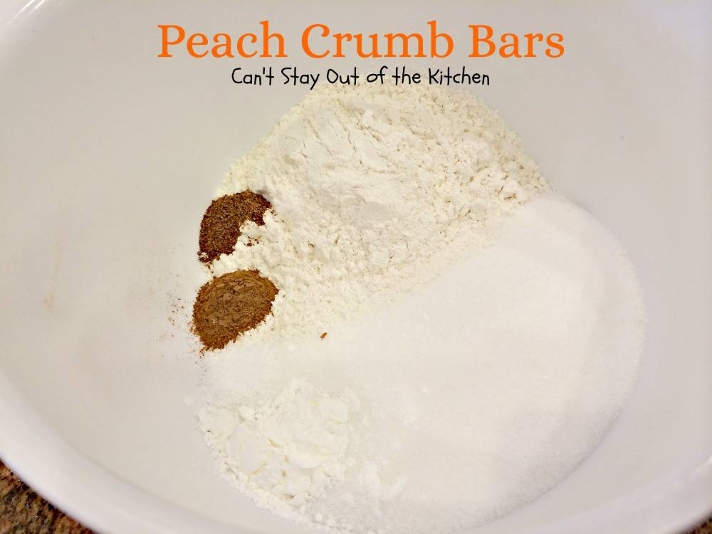 Peach Crumb Bars - Can't Stay Out of the Kitchen