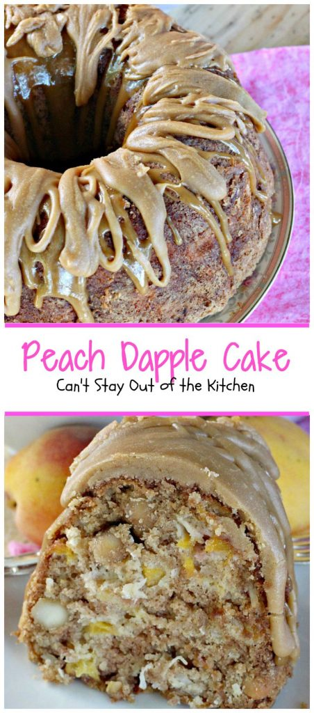 Peach Dapple Cake | Can't Stay Out of the Kitchen | This #cake is amazing. It's filled with #peaches #coconut and #macadamianuts and has a scrumptious brown sugar glaze. #dessert