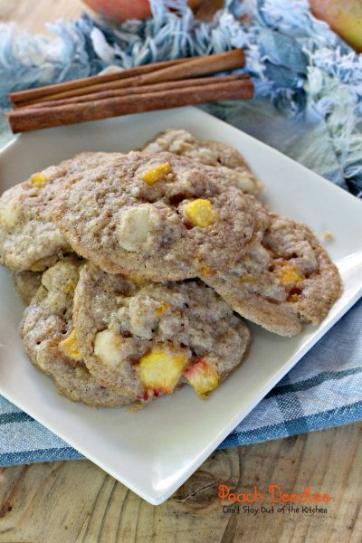 Peach Doodles | Can't Stay Out of the Kitchen | #peaches and #macadamianuts fill these delicious #cookies. You'll be coming back for more! #dessert