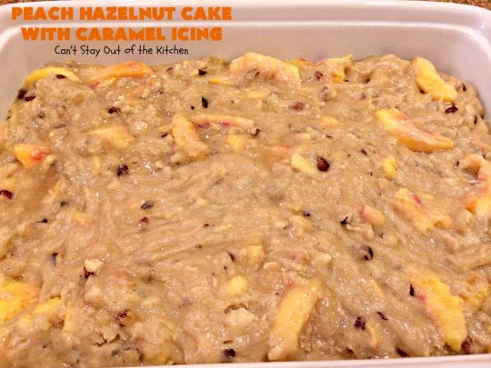 Peach Hazelnut Cake with Caramel Icing | Can't Stay Out of the Kitchen | in this fantastic #cake the #caramel icing sinks into the cake like a #pokecake. It's absolutely spectacular & the perfect #summer #dessert. #peaches #hazelnuts