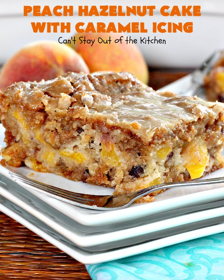 Peach Hazelnut Cake with Caramel Icing