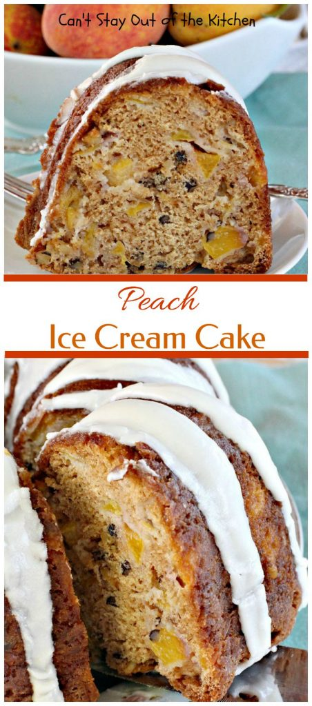 Peach Ice Cream Cake | Can't Stay Out of the Kitchen | one of the most spectacular #cakes you will ever eat! The surprise ingredient is #icecream! #peaches #dessert