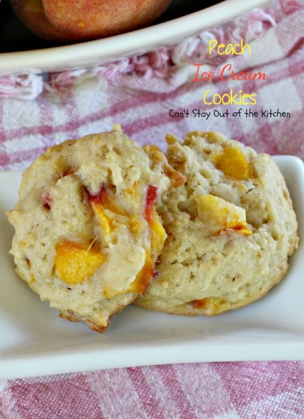 Peach Ice Cream Cookies | Can't Stay Out of the Kitchen | we LOVED these sensational #cookies. You'll never believe the secret ingredient is #icecream! #peaches #dessert