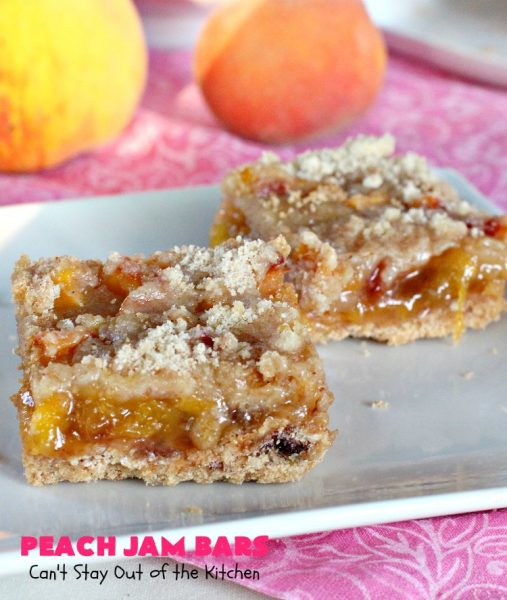 Peach Jam Bars | Can't Stay Out of the Kitchen | these ooey, gooey fantastic #cookies are filled with #PeachJam & fresh #peaches. They also have a #streusel topping. They're rich, decadent & heavenly! Terrific #dessert for #tailgating parties, potlucks, backyard BBQs or for the summer #holidays when peaches are in season. #PeachJamBars #PeachDessert #PeachJamDessert #HolidayDessert