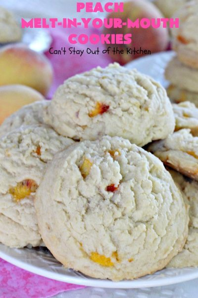 Peach Melt-In-Your-Mouth Cookies | Can't Stay Out of the Kitchen | these lovely #peach #cookies are absolutely mouthwatering. They literally dissolve in your mouth! They're perfect for summer #holidays, potlucks & backyard BBQs when #peaches are in season. #dessert #peachdessert