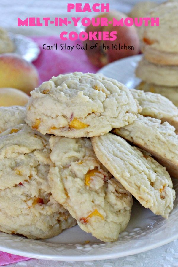 Peach Melt-In-Your-Mouth Cookies   Can't Stay Out of the Kitchen   these lovely #peach #cookies are absolutely mouthwatering. They literally dissolve in your mouth! They're perfect for summer #holidays, potlucks & backyard BBQs when #peaches are in season. #dessert #peachdessert