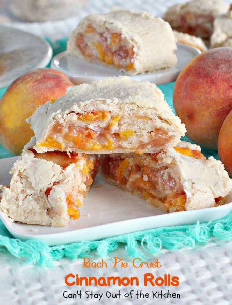 Peach Pie Crust Cinnamon Rolls | Can't Stay Out of the Kitchen | these #cinnamonrolls are awesome. Serve for #breakfast or add ice cream and serve for #dessert. #peaches