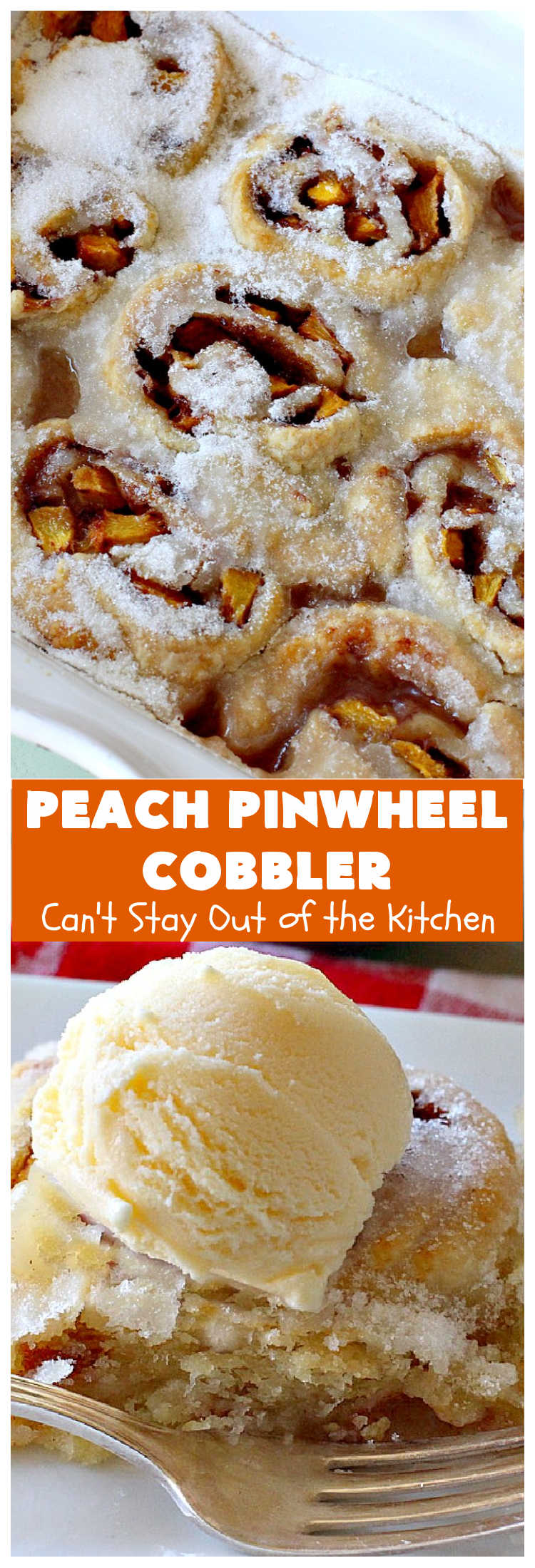 Peach Pinwheel Cobbler | Can't Stay Out of the Kitchen | this is one fantastic #PeachCobbler! #Peaches are wrapped up in dough pinwheel fashion. Syrup is poured over top before baking. The pinwheels absorb the syrup & puff up really large. This is absolutely heavenly. Wonderful #summer #dessert. #PeachDessert #cobbler #PeachPinwheelCobbler #Canbassador #WashingtonStateFruitCommission #WashingtonStoneFruitGrowers #WashingtonStateStoneFruitGrowers
