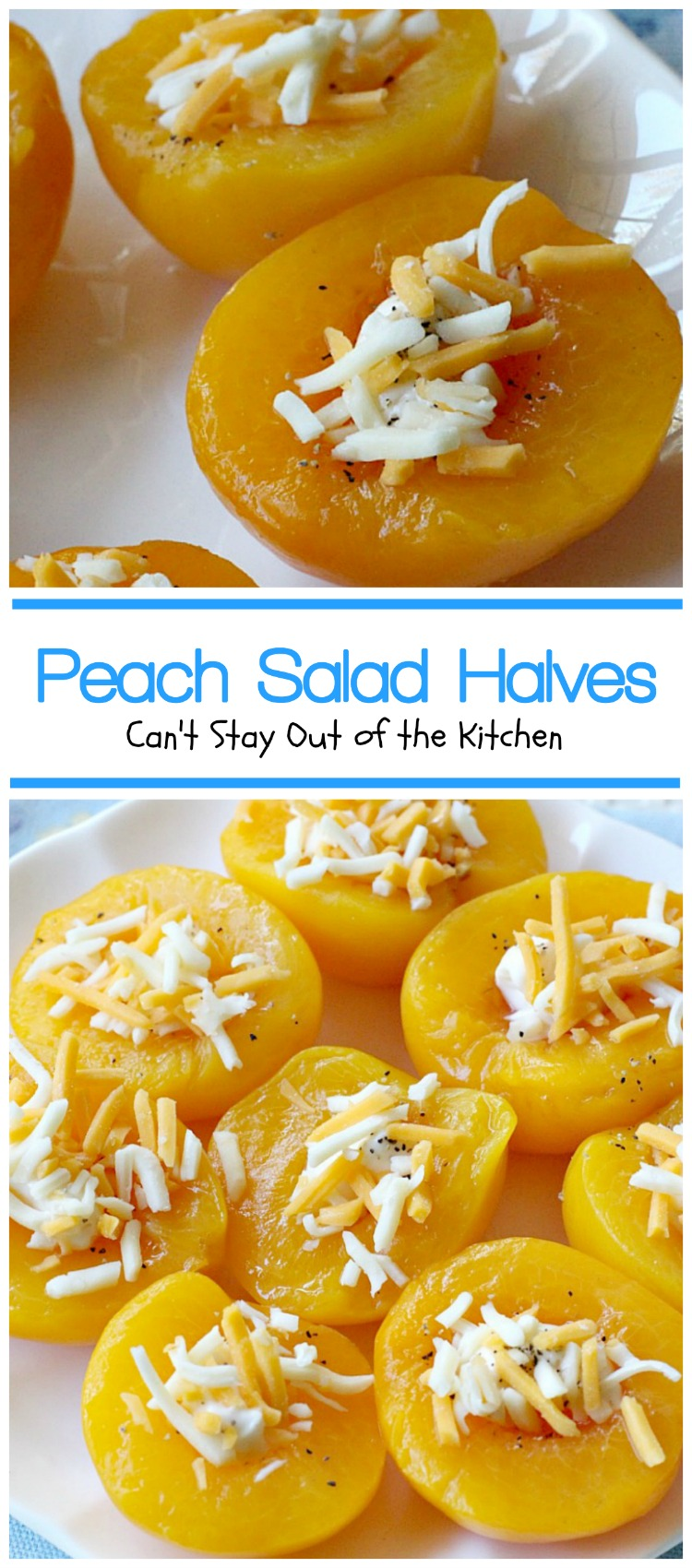 Peach Salad Halves | Can't Stay Out of the Kitchen | this lovely #fruit #salad has only 4 ingredients & is so quick and easy. Great for #holiday menus, too.