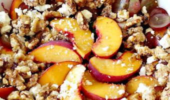 Peach Salad with Glazed Walnuts
