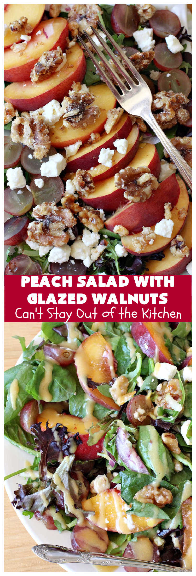 Peach Salad with Glazed Walnuts | Can't Stay Out of the Kitchen | this mouthwatering #salad includes fresh #peaches, #lemon #FetaCheese, #grapes & #GlazedWalnuts. It's terrific for company meals or entertaining. It has a delicious homemade #PeachVinaigrette. #GlutenFree #PeachSalad #PeachSaladWithGlazedWalnuts