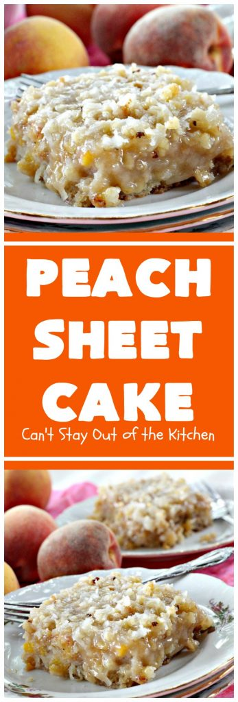 Peach Sheet Cake | Can't Stay Out of the Kitchen | this is such a decadent and delicious cake. It's made with fresh #peaches & has a #coconut #walnut frosting. Great #dessert for summer or #LaborDay parties.