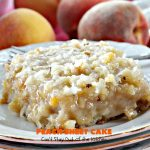 Peach Sheet Cake   Can't Stay Out of the Kitchen   this is such a decadent and delicious cake. It's made with fresh #peaches & has a #coconut #walnut frosting. Great #dessert for summer or #LaborDay parties.