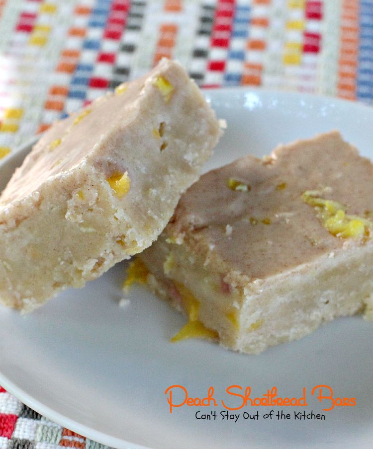 Peach Shortbread Bars | Can't Stay Out of the Kitchen | lovely # ...