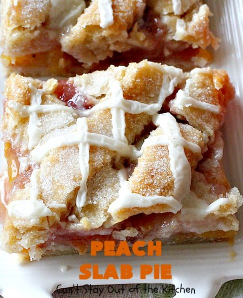 Peach Slab Pie | Can't Stay Out of the Kitchen | This #peachpie #recipe is spectacular. It's the perfect treat for #summer #holiday fun or #fall baking when fresh #peaches are still in season. Everyone raved over this #dessert. #peachdessert #CANbassador #WashingtonStateFruitCommission #WashingtonStateStoneFruitGrowers