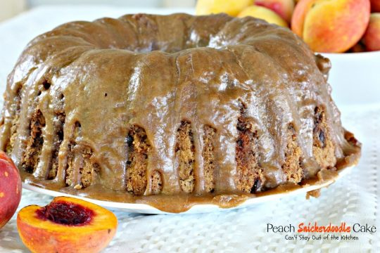 Peach Snickerdoodle Cake | Can't Stay Out of the Kitchen | this #cake is awesome! #peaches #cinnamonchips #pecans & a wonderful #caramel glaze. #dessert