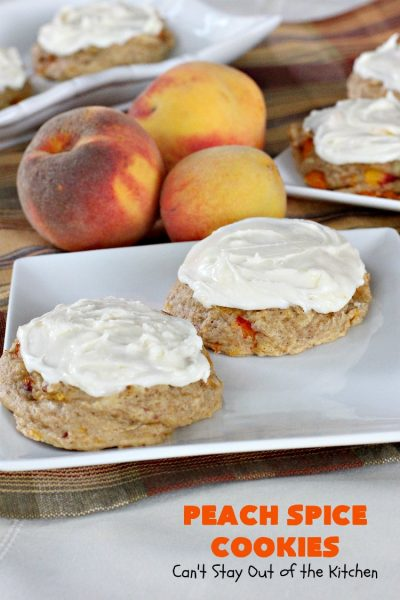 Peach Spice Cookies | Can't Stay Out of the Kitchen | these awesome #cookies are heavenly. They're filled with #peaches, #almonds & #cinnamon & have a lavish #lemon buttercream frosting. They're wonderful for any kind of party or potluck. #dessert #peachdessert