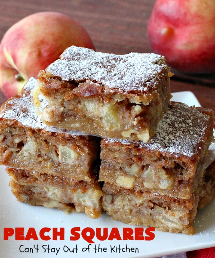 Peach Squares | Can't Stay Out of the Kitchen | this awesome #recipe can't be beat! If you enjoy #peaches, you'll love them in this amazing #dessert. #cookies #PeachDessert #PeachSquares #walnuts