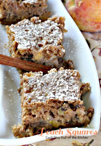 Peach Squares | Can't Stay Out of the Kitchen | these exceptionally moist #cookies are so delectable. They just melt in your mouth. #peaches #walnuts #dessert