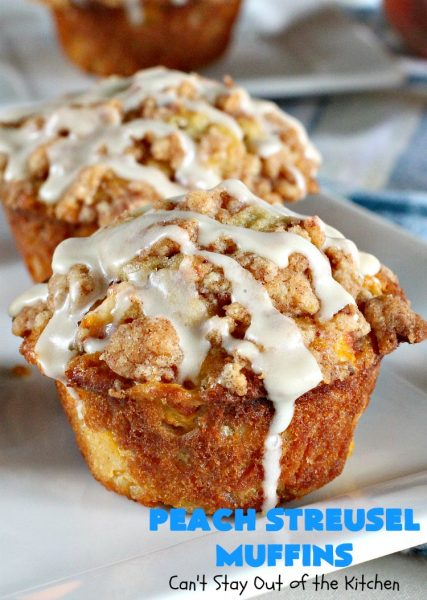 Peach Streusel Muffins | Can't Stay Out of the Kitchen | these fabulous #peach #muffins will knock your socks off! They're absolutely heavenly. They are perfect for a summer #holiday #breakfast when #peaches are in season. #FathersDay #FourthofJuly #LaborDay