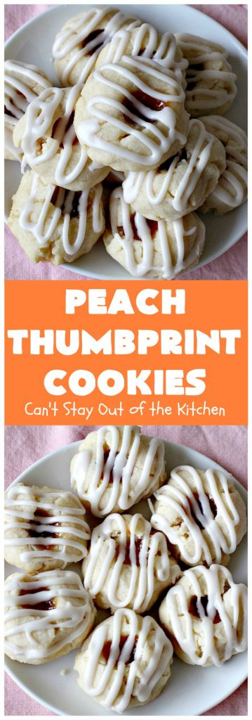 Peach Thumbprint Cookies | these fantastic little #cookies are terrific for #holiday #baking & #ChristmasCookieExchanges. They're filled with #peach jam & iced with a heavenly vanilla powdered sugar icing. #dessert #holiday #HolidayDessert ChristmasDessert #ChristmasCookie #PeachDessert #ThumbprintCookie