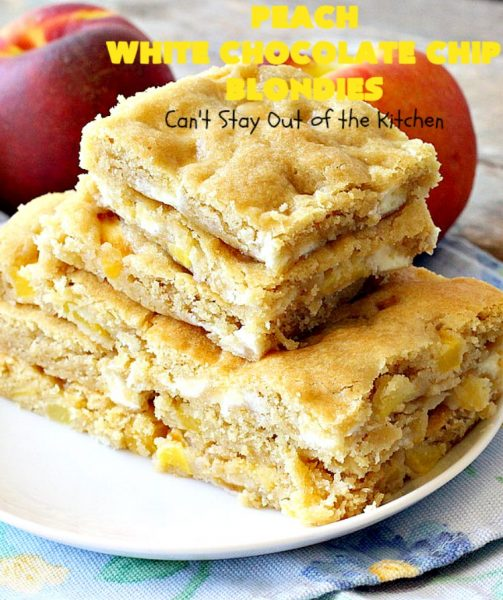 Peach White Chocolate Chip Blondies | Can't Stay Out of the Kitchen | you'll be drooling after the first bite of these amazing #cookies. They'e filled with fresh #peaches & white #chocolate chips for heavenly flavor. #dessert #peachdessert #CANbassador #WashingtonStateFruitCommission #WashingtonStateStoneFruitGrowers
