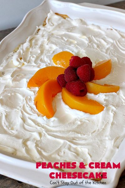 Peaches and Cream Cheesecake | Can't Stay Out of the Kitchen | this spectacular #dessert is perfect for special occasions, #holidays like #Easter & #MothersDay, & whenever you want to impress your company! #peaches #cheesecake