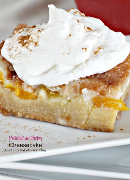 Peaches and Cream Cheesecake | Can't Stay Out of the Kitchen | spectacular #cheesecake with #peaches #vanillapudding and topped with #caramelsauce! #dessert
