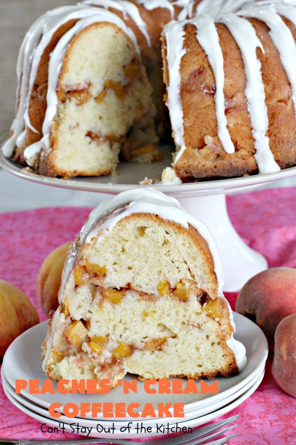 Peaches 'n Cream Coffeecake   Can't Stay Out of the Kitchen   this awesome #peach #coffeecake is one of our favorites. While it's a terrific #cake for #dessert, we like it for #breakfast! Perfect for summer #holidays like #FourthofJuly or #LaborDay.