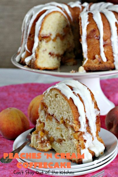 Peaches 'n Cream Coffeecake | Can't Stay Out of the Kitchen | this awesome #peach #coffeecake is one of our favorites. While it's a terrific #cake for #dessert, we like it for #breakfast! Perfect for summer #holidays like #FourthofJuly or #LaborDay.