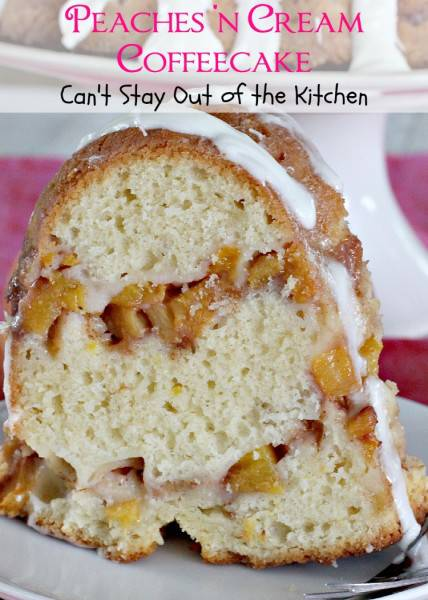 Peaches 'n Cream Coffeecake | Can't Stay Out of the Kitchen | spectacular #coffeecake that's made with #peaches, sour cream and a #cinnamon #brownsugar #streusel. Then the #cake is glazed with powdered sugar #icing. #breakfast #brunch #dessert