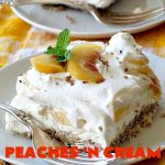 Peaches 'n Cream Delight  Can't Stay Out of the Kitchen   this lovely #cheesecake #dessert is absolutely heavenly. It has has a scrumptious layer of fresh #peaches in the middle that pops with flavor. Terrific for #company or #holiday menus. #peachdessert #CANbassador #WashingtonStateFruitCommission #WashingtonStateStoneFruitGrowers