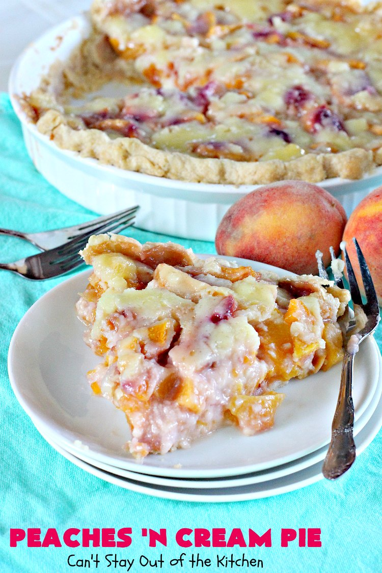 Peaches 'n Cream Pie | Can't Stay Out of the Kitchen | this amazing #peachpie has a yummy #custard filling. Wonderful for a #summer #dessert while fresh #peaches are in season.