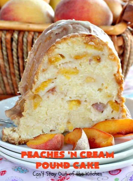 Peaches 'n Cream Pound Cake | Can't Stay Out of the Kitchen | This fabulous #cake is the perfect #summer #dessert. It's full of fresh #peaches & very moist. The #cinnamon glaze is especially good. #holiday #baking