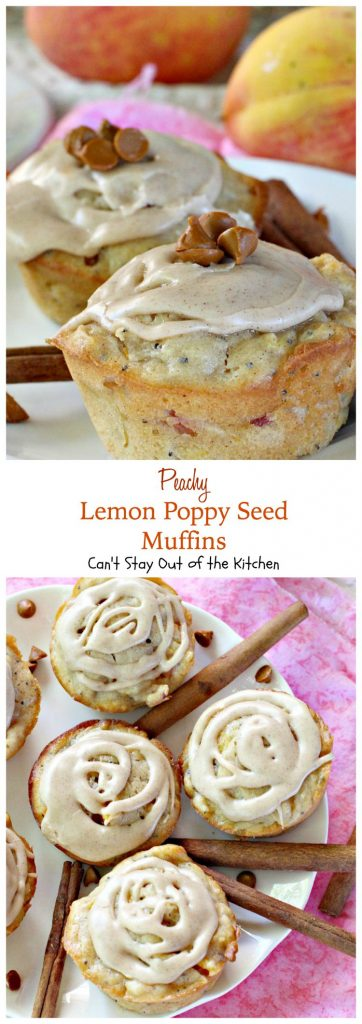 Peachy Lemon Poppy Seed Muffins | Can't Stay Out of the Kitchen