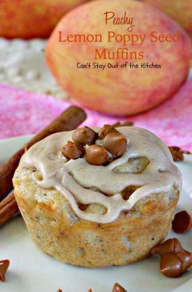 Peachy Lemon Poppy Seed Muffins | Can't Stay Out of the Kitchen | these lovely #muffins are filled with #peaches #cinnamon and #lemon for dynamic taste. #breakfast