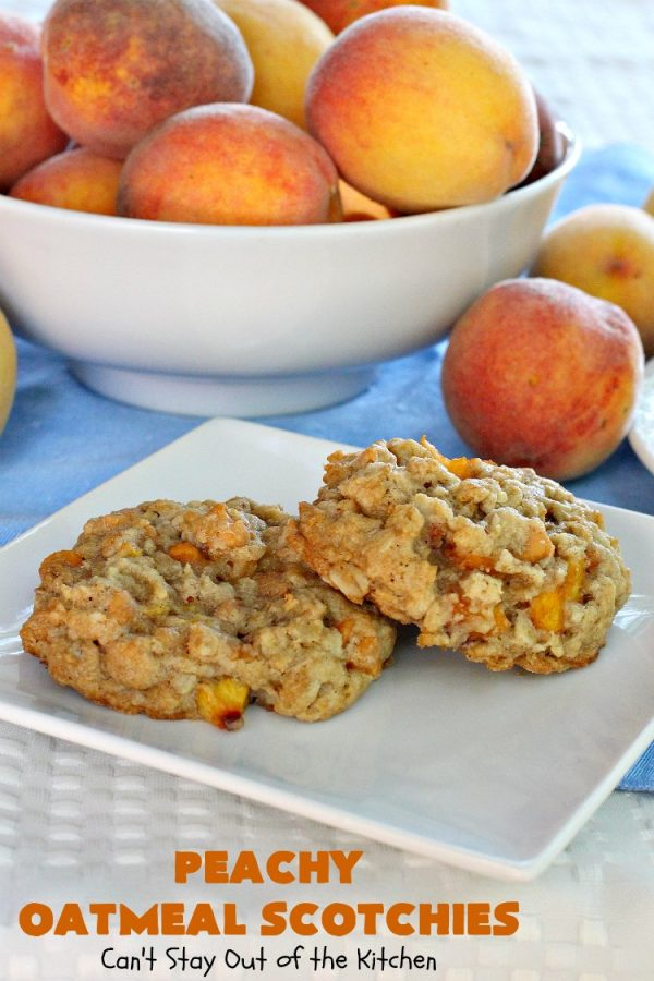 Peachy Oatmeal Scotchies | Can't Stay Out of the Kitchen | these outrageous #OatmealCookies contain #FreshPeaches & #ButterscotchChips for maximum flavor. Seriously, every bite will have you drooling. Great for #tailgating parties, potlucks & backyard BBQs. #peaches #oatmeal #butterscotch #cookies #dessert #PeachyOatmealScotchies #PeachDessert #OatmealDessert #ButterscotchDessert
