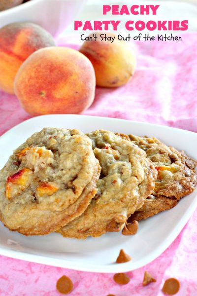 Peachy Party Cookies | Can't Stay Out of the Kitchen | these fantastic #peach #cookies will have you in the partying mood after one bite! They're scrumptious & include #cinnamon chips in the batter. Soooo good. #dessert #peachdessert