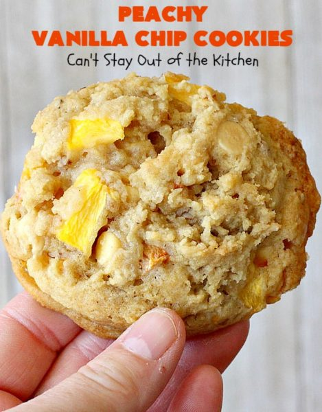 Peachy Vanilla Chip Cookies | Can't Stay Out of the Kitchen | these sensational #cookies include fresh #peaches, #walnuts & vanilla chips. They make a wonderful #dessert for summer potlucks when peaches are in season. #peachdessert