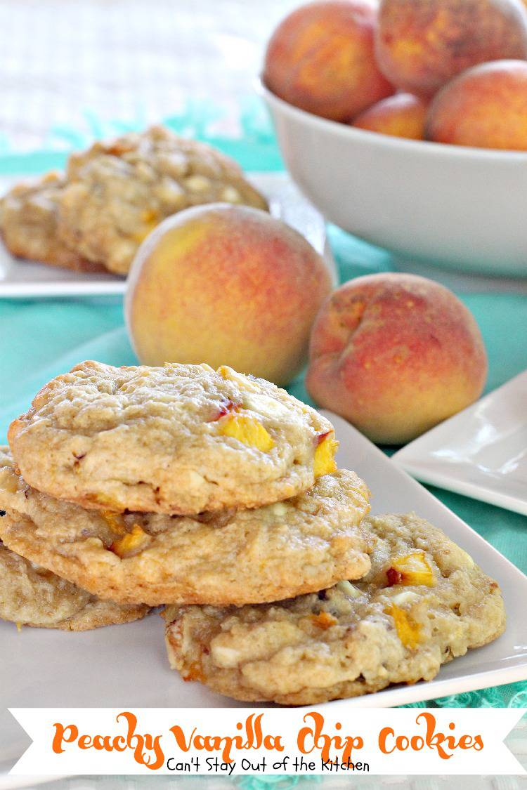 Peachy Vanilla Chip Cookies | Can't Stay Out of the Kitchen | these #peach #cookies are super rich because of the #vanillachips in the batter. #dessert #walnuts