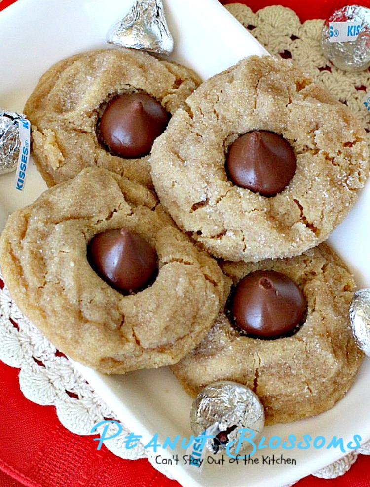 Peanut Blossoms | Can't Stay Out of the Kitchen | fabulous #peanutbutter #cookies are stuffed with a #HersheysKiss and are great for #christmas parties. #dessert #chocolate