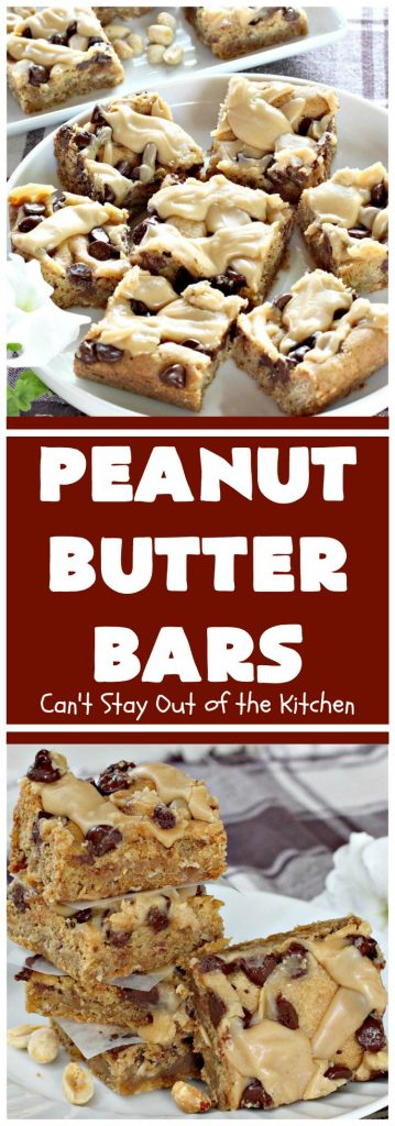 Peanut Butter Bars | Can't Stay Out of the Kitchen | Get your #chocolate fix & #PeanutButter fix with one delicious #recipe! This #dessert is sure to get your motor going as every bite is rich, decadent and heavenly. #cookie #ChocolateChips #PeanutButterDessert #brownie #tailgating #ChocolateDessert #FathersDayDessert #FourthOfJulyDessert