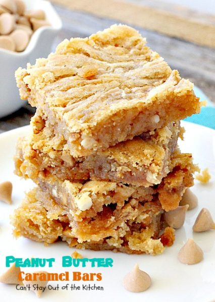 Peanut Butter Caramel Bars | Can't Stay Out of the Kitchen | #peanutbutter & #caramel chips pair together perfectly in this fabulous #brownie. Great option for summer #holidays & potlucks, too. #dessert