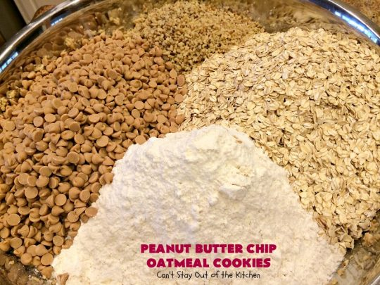 Peanut Butter Chip Oatmeal Cookies | Can't Stay Out of the Kitchen | these #cookies are fantastic! #OatmealCookies are amped up with #walnuts & #ReesesPeanutButterChips. They are mouthwatering, irresistible & heavenly. Marvelous for #tailgating parties, #holiday #baking & #ChristmasCookieExchanges. #PeanutButter #dessert #Reeses #PeanutButterDessert #PeanutButterChipOatmealCookies