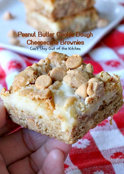 Peanut Butter Cookie Dough Cheesecake Brownies | Can't Stay Out of the Kitchen | these mouthwatering #brownies are filled with #peanutbutter chips & a #cheesecake layer. They make a scrumptious #tailgating treat. #dessert