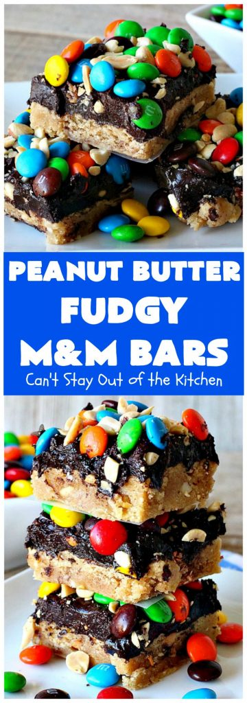 Peanut Butter Fudgy M&M Bars | Can't Stay Out of the Kitchen | these amazing #brownies have only 6 ingredients! They are so quick & easy but also rich, decadent & heavenly. Terrific #dessert for summer #holidays, backyard BBQs, #tailgating parties or for #ChristmasCookieExchanges. #DarkChocolate #Fudge #MMs #cookie #PeanutButter #Peanuts #chocolate #HolidayDessert #PeanutButterFudgyMMBars #ChocolateDessert #MMDessert