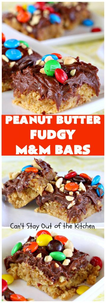 Peanut Butter Fudgy M&M Bars | Can't Stay Out of the Kitchen | Here's an easy 6-ingredient #recipe that will have you salivating from the first sniff! This luscious #PeanutButter #dessert will knock your socks off! Great for #Tailgating parties, potlucks or summer #holiday fun like #MemorialDay. #chocolate #fudge #MMs #cookie #ChocolateDessert #MMDessert #peanuts #brownie