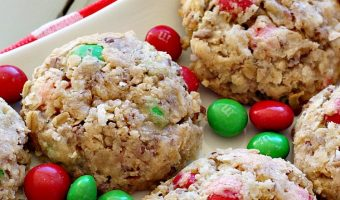 Peanut Butter M&M Oatmeal Cookies