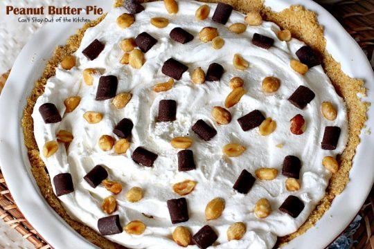 Peanut Butter Pie | Can't Stay Out of the Kitchen | absolutely scrumptious #dessert #pie made with #peanutbutter & cream cheese. #chocolate tops it off making it divine!